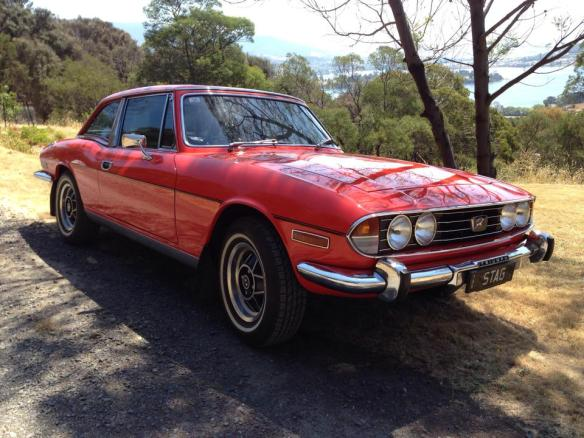 About to go for a spin in my 1977 Stag. Rego is STAG and it lives in Hobart Tasmania from Frank McGregor